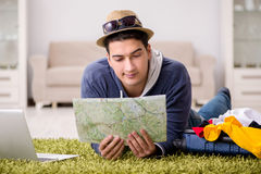 The man planning his vacation trip with map Royalty Free Stock Photo