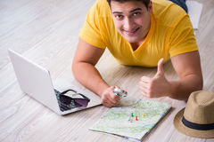 The man planning his vacation trip with map Royalty Free Stock Image