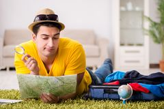 The man planning his vacation trip with map Royalty Free Stock Photography