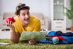 The man planning his vacation trip with map Stock Photo
