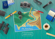 Man planning vacation trip with map. Top view. Stock Photography
