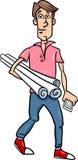Man with plans cartoon illustration Royalty Free Stock Photos