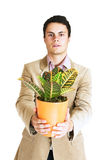 Man with a plant Stock Photography