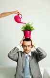 Man with plant Stock Photos