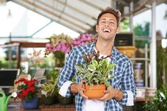 Man with plant in garden center. Man is laughing with a plant Peperomia magnofolia in the garden center stock photography