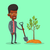 Man plants tree vector illustration. An african-american man plants a tree. Cheerful man standing with shovel near newly planted tree. Young man gardening Royalty Free Stock Photography