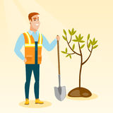 Man plants tree vector illustration. Royalty Free Stock Images