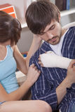 Man with plaster bandage Stock Photography