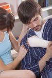 Man with plaster bandage stock photography