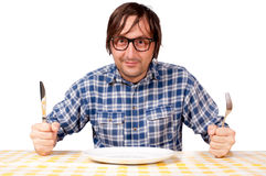 Man and plate Royalty Free Stock Photography