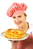 Man with plate of pancakes Royalty Free Stock Photography