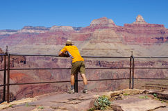 Man on Plateau Point Overlook Royalty Free Stock Image