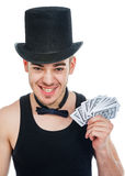 Man with play cards Stock Images