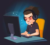 A man play the computer game, Vector illustration. Royalty Free Stock Image
