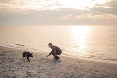 Man play with dog. Young caucasian male walking with dog on the morning beach, sunset on the sea or ocean and man with black labrador puppy Royalty Free Stock Photography