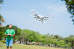 Man play drone in park royalty free stock photo