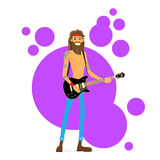 Man Play Guitar Hippie with Beard Vector Stock Image