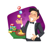 Man play roulette in casino Stock Images