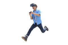 Man play vr eyeglasses,great for your design Stock Photography