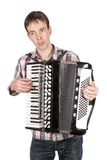 Man playing an accordion isolated over white Royalty Free Stock Photography