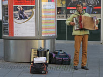 Man is playing accordion outdoor in Brno, Czech Royalty Free Stock Photo