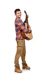 Man playing an acoustic guitar. On white background Stock Photo