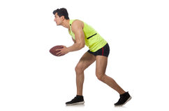 The man playing american football isolated on Royalty Free Stock Image