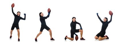 The man playing american football isolated on white royalty free stock image