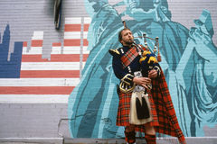 Man playing bagpipes Stock Photos