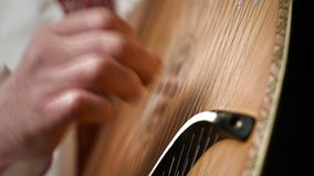 Man Playing On Bandura. Man Playing On Ukrainian National Musical Instrument - Bandura stock footage
