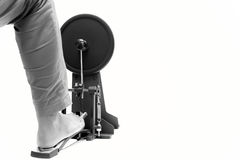 Man playing a base drum pedal isolated drum pedal isolated Stock Photo