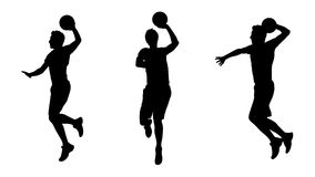 Man playing basketball silhouettes set 1 Stock Images