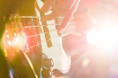 Man playing bass guitar in black and yellow Royalty Free Stock Photography