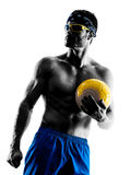 Man playing beach volley silhouette Stock Photography