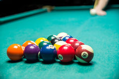 Man playing billiard royalty free stock images