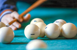 The man playing billiard Stock Image
