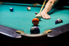 Man playing billiard stock images