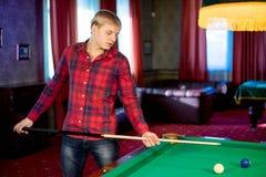 Man playing billiard Royalty Free Stock Photos