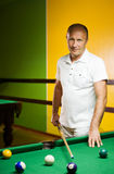 Man playing billiards Stock Images