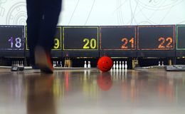 Man playing bowling Stock Images