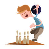 Man playing bowling  illustration cartoon character Stock Photography