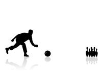 Man playing bowling silhouette Royalty Free Stock Photography