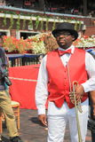 Man playing bugle, announcing the race,Saratoga Racecourse,2015 Stock Photography