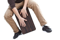 Man playing the cajon Stock Photo