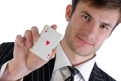 Man and  playing card Stock Photo