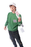 Man with playing cards Stock Photo