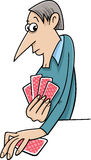 Man playing cards cartoon Stock Images