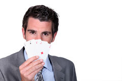 Man playing cards Royalty Free Stock Photo