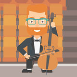 Man playing cello. Royalty Free Stock Images