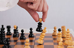 Man playing chess close up. Business strategy, success  and winner concept Royalty Free Stock Photography